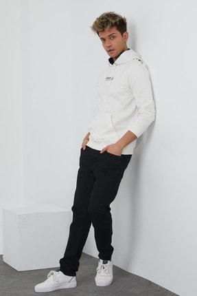 MRS CLOTHING Erkek Beyaz Baskılı Kapüşonlu İnce Sweatshirt 3