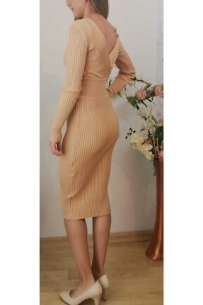 MERİ FASHİON Kadın Vizon V Yaka  Triko Elbise 2