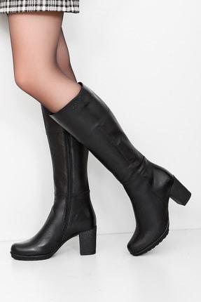 GÖNDERİ(R) Gön Hakiki Deri Siyah Topuklu Fermuarlı Günlük Kadın Çizme 44602 0