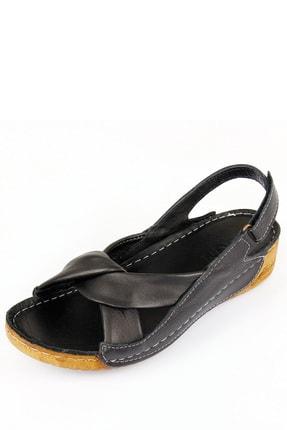 GÖNDERİ(R) Kadın Siyah Hakiki Deri Sandalet 42304 3