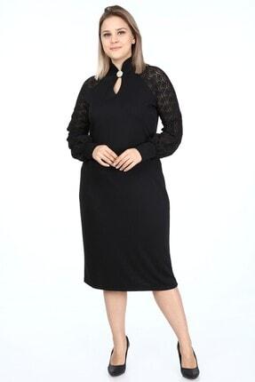 Garip tekstil Büyük Beden Siyah Kadın Elbise Broşlu 0