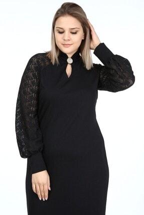 Garip tekstil Büyük Beden Siyah Kadın Elbise Broşlu 1