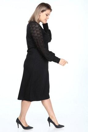 Garip tekstil Büyük Beden Siyah Kadın Elbise Broşlu 4