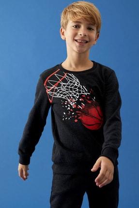 Defacto Erkek Çocuk Baskılı Sweatshirt Ve Jogger Eşofman Alt Takım 0