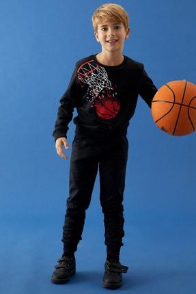 Defacto Erkek Çocuk Baskılı Sweatshirt Ve Jogger Eşofman Alt Takım 4