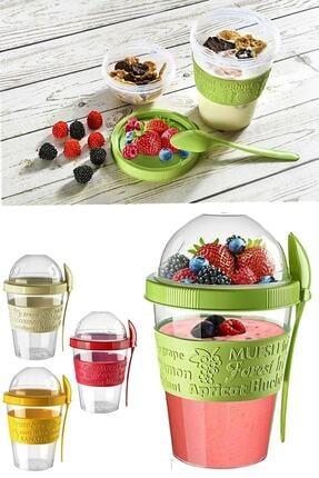 Kitchen Life Take'n Go Kapaklı Kaşıklı Hazırla Ve Çık Meyveli Yoğurt Kabı 0