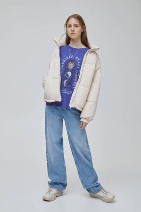 Pull & Bear Kadın Mor Mistik Grafik Görselli  T-shirt 2