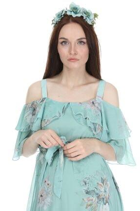 Entarim Kadın Yeşil Çiçek Desenli Maxi Uzun Hamile Elbise 6021-3 1