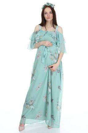 Entarim Kadın Yeşil Çiçek Desenli Maxi Uzun Hamile Elbise 6021-3 2