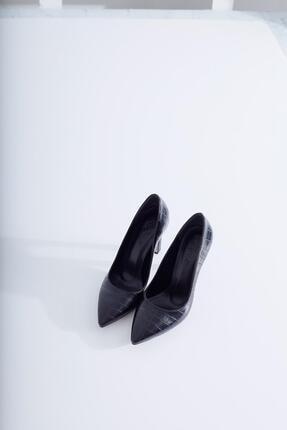 Limoya Kadın Siyah Kroko İnce Topuklu Stiletto 1