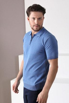 Ferraro Erkek Mavi Havacı Polo Yaka Fermuarlı Pamuk Triko T-Shirt 2