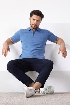 Ferraro Erkek Mavi Havacı Polo Yaka Fermuarlı Pamuk Triko T-Shirt 3