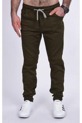 BLACK STEEL Erkek Yeşili Renk Beli Ve Paçası Lastikli Kargo Cepsiz Nefti  Pantolon-1453 0