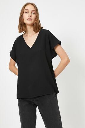 Koton Kadın Siyah V Yaka Bluz 1