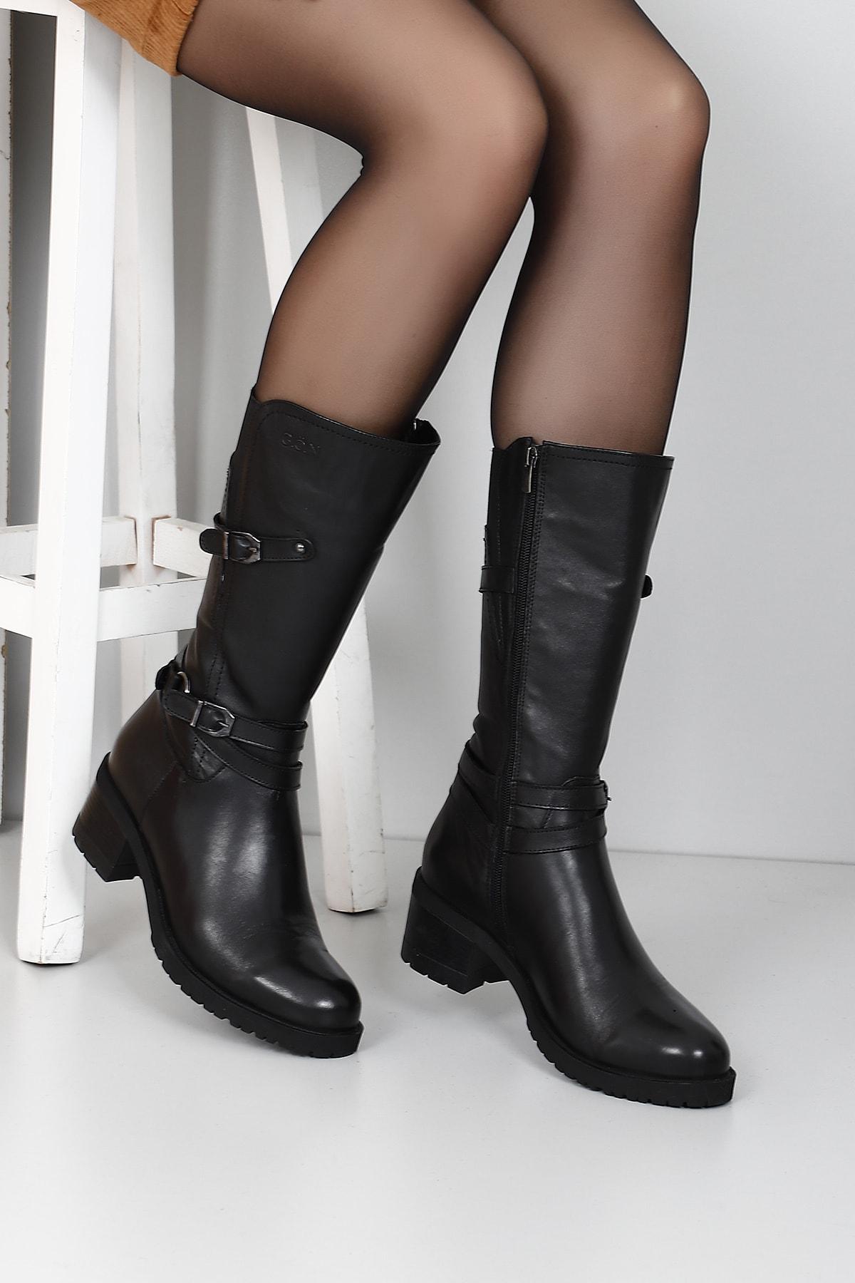 Gön Hakiki Deri Siyah Tokalı Lastikli Diz Altı Topuklu Fermuarlı Günlük Kadın Çizme 44560
