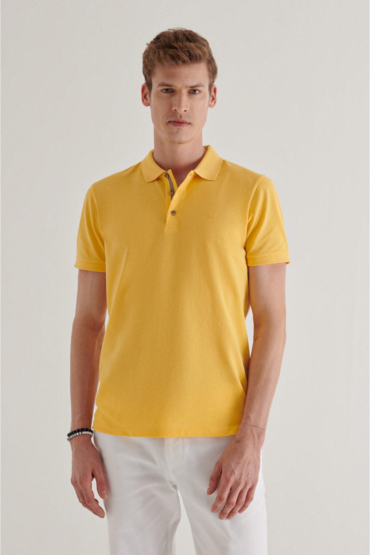 Erkek Sarı Polo Yaka Düz T-shirt A11b1174