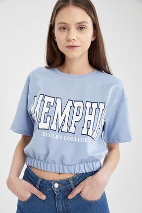 Defacto Kadın Mavi Yazı Baskılı Beli Lastikli Crop Tişört 2