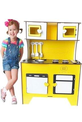 WoodyLife 104 cm Çocuk Odası Ahşap Mutfak Montessori Oyuncak Dolabı Sarı Zeytindalı Oyunevi Kutu 1