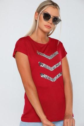 Julude Kadın Bordo Bisiklet Yaka Pul Detaylı T-shirt 1