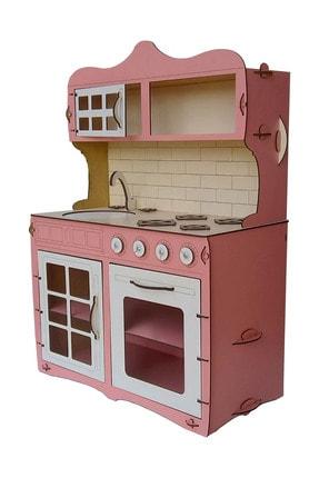 ALFAGAMA Mini Ahşap Çocuk Oyun Mutfağı Tezgah Dolap Seti Evcilik Oyunu Oyuncak Pembe Mutfak 65 cm 0
