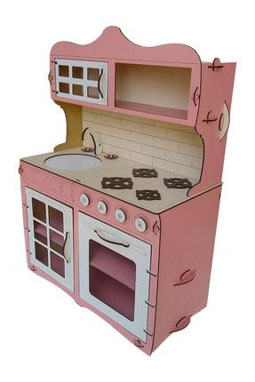 ALFAGAMA Mini Ahşap Çocuk Oyun Mutfağı Tezgah Dolap Seti Evcilik Oyunu Oyuncak Pembe Mutfak 65 cm 3