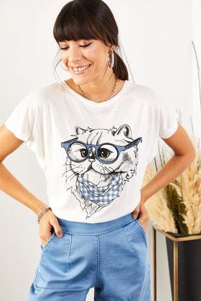 Olalook Kadın Beyaz Gözlük Salaş Tişört TSH-19000351 0