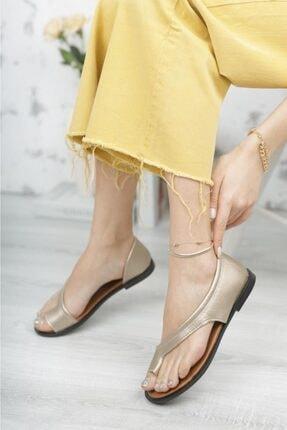 Moda Frato Kadın Altın Rengi Parmak Arası Sandalet Pwr-33 1