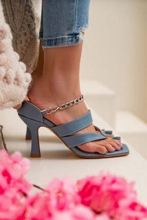 NİŞANTAŞI SHOES Kadın Gillian Mavi Mat Parmak Arası Bilek Bağlı Topuklu Ayakkabı 2