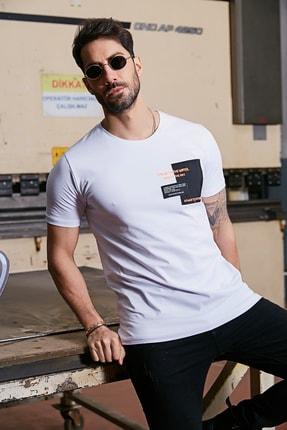 Sateen Men Erkek Beyaz Yazı Işlemeli T-Shirt 0