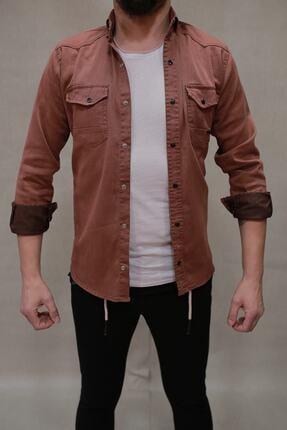 YXC erkek kiremit çift cepli çıtçıtlı kot gömlek   00059 0