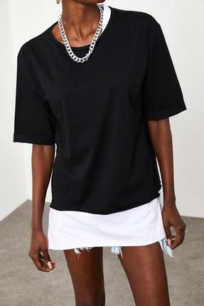 Xena Kadın Siyah Yakası & Eteği Garnili Salaş T-Shirt 1KZK1-11558-02 2