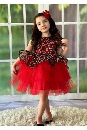 Kız Çocuk Kırmızı Jakar Saten Abiye Elbise ELBİSE