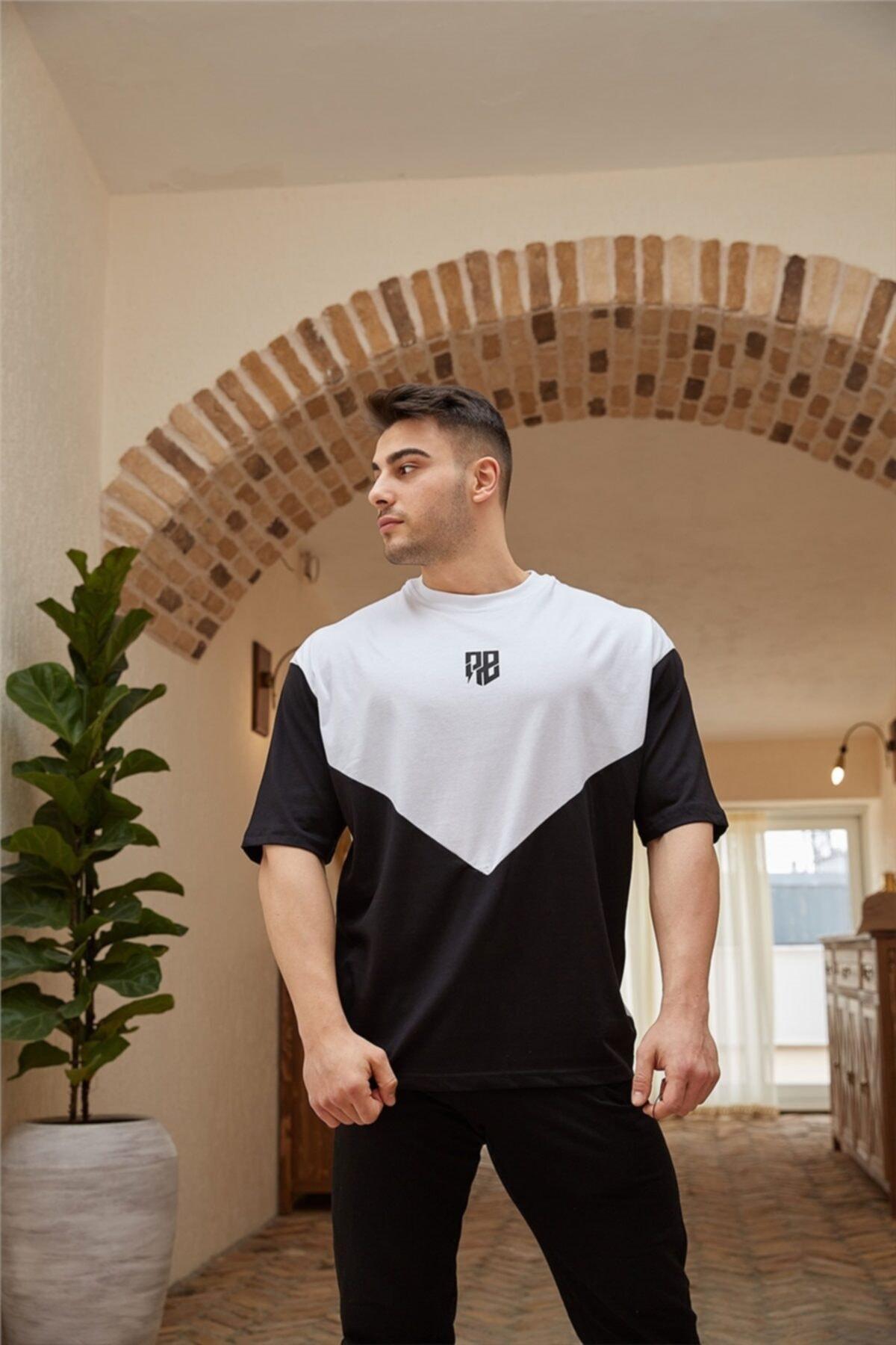 Siyah Geometrik Detaylı Oversize T-shirt