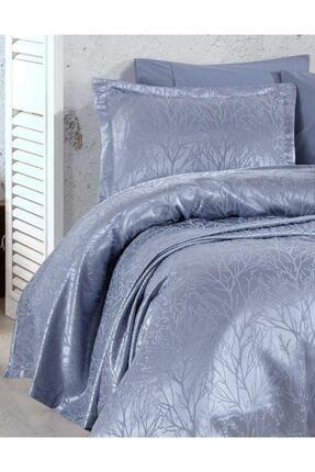 Elart Yatak Örtüsü Takımı Çift Kişilik Jakar Şönil Kumaş Mucize Mavi 1