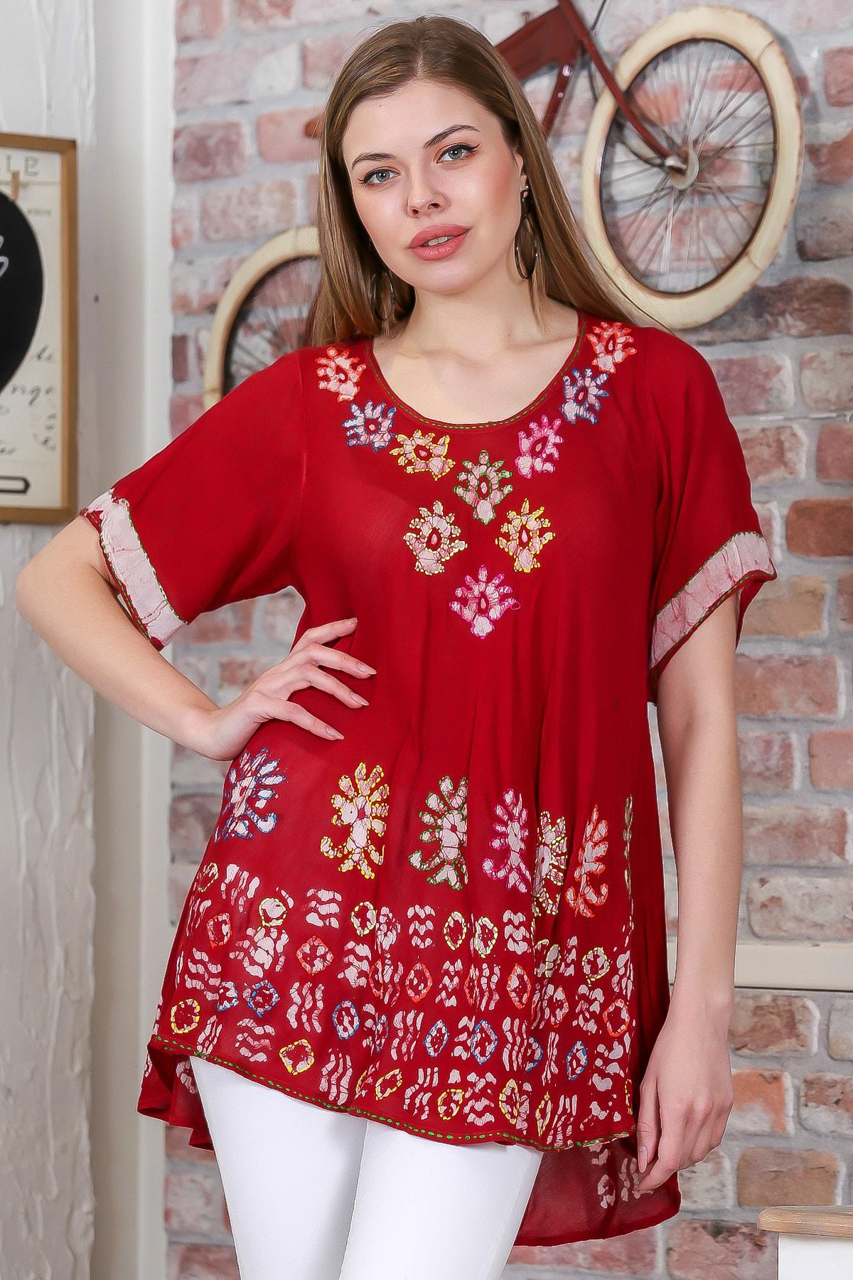 Chiccy Kadın Kırmızı Çiçek Baskılı Nakış Dikişli Kısa Kol Batik Salaş Dokuma Bluz M10010200BL95495 2