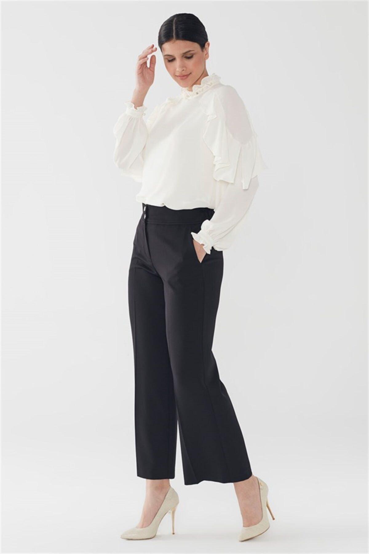Cep Detaylı Bol Paça Siyah Pantolon P-0104