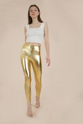 Kadın Altın Parlak Disco Tayt Wotto24