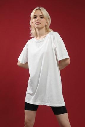 Grenj Fashion Beyaz Pamuk Bisiklet Yaka Oversize Örme Tshirt 2