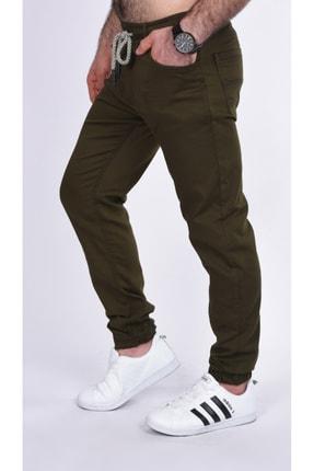 BLACK STEEL Erkek Yeşili Renk Beli Ve Paçası Lastikli Kargo Cepsiz Nefti  Pantolon-1453 1
