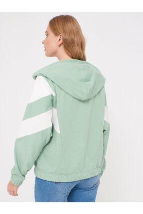 LC Waikiki Kadın Mat Yeşil Sweatshirt 0WCF16Z8 3