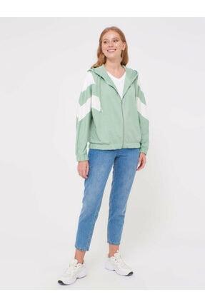 LC Waikiki Kadın Mat Yeşil Sweatshirt 0WCF16Z8 4