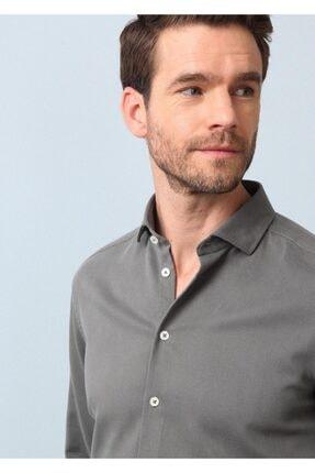 Ramsey Erkek Haki Dokuma Uzun Kollu Gömlek 1