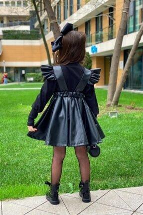 Lolababy Kız Çocuk Siyah Deri Elbise Kombin 1
