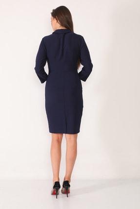 Element's Kadın Lacivert Kruvaze Yaka Ve Ön Kısmı Düğme Detaylı Ofis Elbise 4