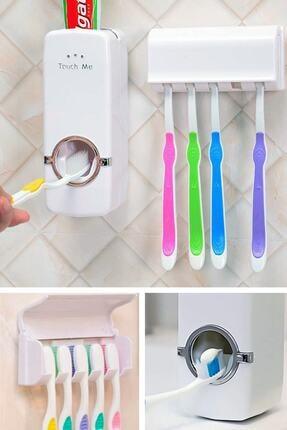 Otomatik Diş Macunu Sıkacağı Ve 5'li Diş Fırçalığı Macun Sıkıcı Diş Fırçası Tutucu DF680