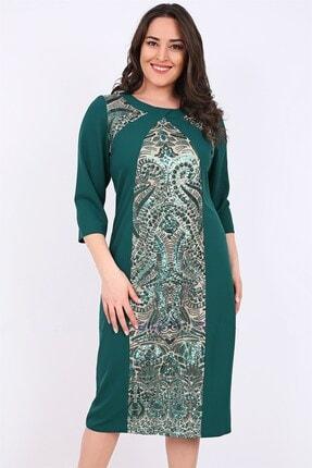 Kadın Zümrüt Yeşili Büyük Beden 3029 Kısa Abiye Elbise