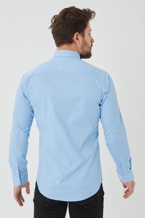 Cosmen Erkek Mavi Slim Fit Poplin Likralı Gömlek 2