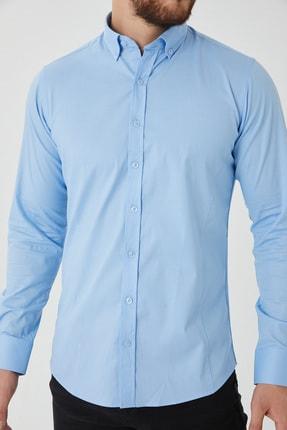 Cosmen Erkek Mavi Slim Fit Poplin Likralı Gömlek 3