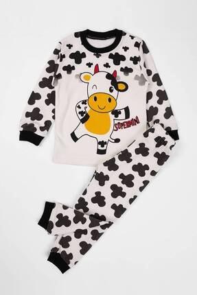 zepkids Unisex Çocuk Bej İnek Baskılı Pijama Takımı 0