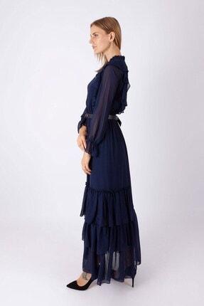 NOMENS Kadın Kemer Detaylı Şifon Uzun Elbise 1